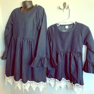 Other - NWT blue dress with crochet trim and flare sleeves
